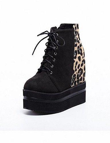 ShangYi Mode Frauen Schuhe Damenschuhe Keilabsatz Schuhe Casual Schwarz Runder Schwarz