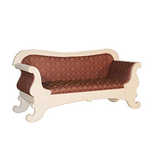 Biedermeier Sofa Salur 3-Sitzer rot-gold Landhausmöbel