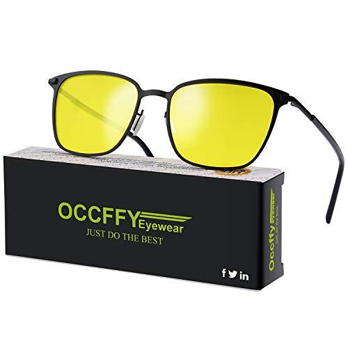 Occffy Herren und Damen HD Nachtfahrbrille für Autofahren Anti Glanz Polarisiert nachtsichtbrillen Gewidmet Nachtbrille OC0864 (Schwarzer Mattrahmen mit gelber Linse) (Nacht Polarisierte Brille Fahren)