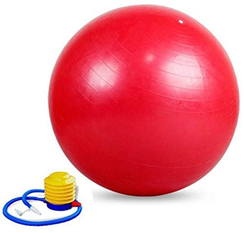 BSITFOW Inflatable Gym Ball with Foot Pump for Total Body Fitness, Abdominal Toner - Diameter 65Cm (RED)