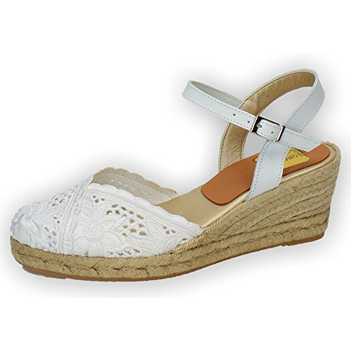 TORRES 5004 Zapatillas DE Encaje Mujer Alpargatas Blanco 36