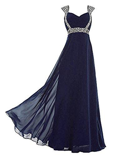Vantexi Damen Lange Abschlussball Abendkleid Brautjungfer Kleider Marineblau Größe 54