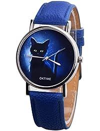 hevoiok 2018 Hot Sale Mujer Relojes Fácil Gato Costura Diseño Alemán Banda de Piel Mujer Relojes