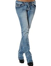 WanYang Mujeres Skinny Slim Pantalones Vaqueros Rectos Jeans Elásticos  Casuales Moda Denim Pantalon 637e84c17e6b