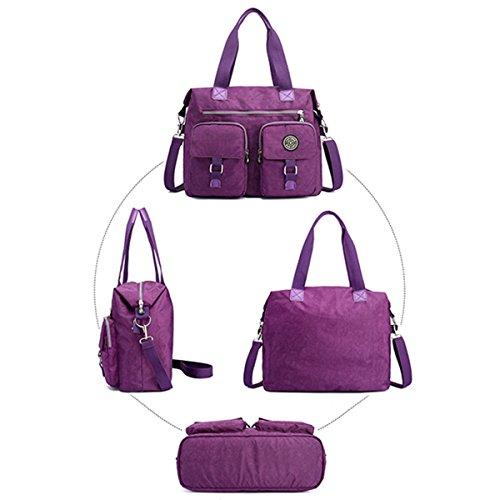 Damen Handtasche, JOSEKO Wasserdichte Umhängetasche Nylon Schultertasche Mädchen Handtaschen Shopper Tasche Messenger Bag für Reisen Büro Arbeit Schwarz Lila Blau
