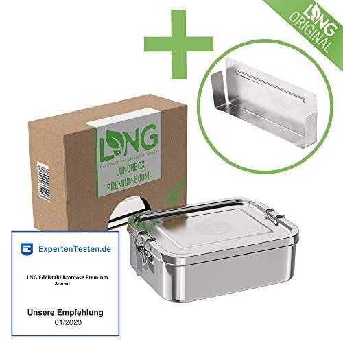 LNG Edelstahl Brotdose Premium | Umweltfreundliche Bento, Lunchbox ohne Plastik & BPA | auslaufsicher & dicht | Perfekte Größe mit 800ml und Trennsteg | Hochwertige Brotdose für Kinder und Erwachsene