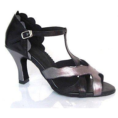Scarpe da ballo-Personalizzabile-Da donna-Balli latino-americani / Jazz / Salsa / Scarpe da swing-Tacco su misura-Finta pelle-Nero Black