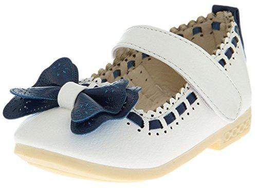 BELLA-Scarpe Principessa Bambina di PU Pelle Sandali Bambina con Fiocco Bianco 14cm