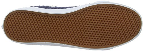 Vans Sk8-Hi Slim, Baskets Hautes Mixte Adulte Bleu (Suede/Woven navy blue/true white)