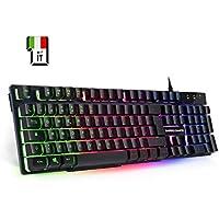 EMPIRE GAMING Tastiera PC Empire K300 QWERTY– 105 Tasti Semi-Meccanici di Cui 19 Anti-ghosting Tastiera Gamer 12 multimediali ad Accesso Diretto Retroilluminata a LED RGB