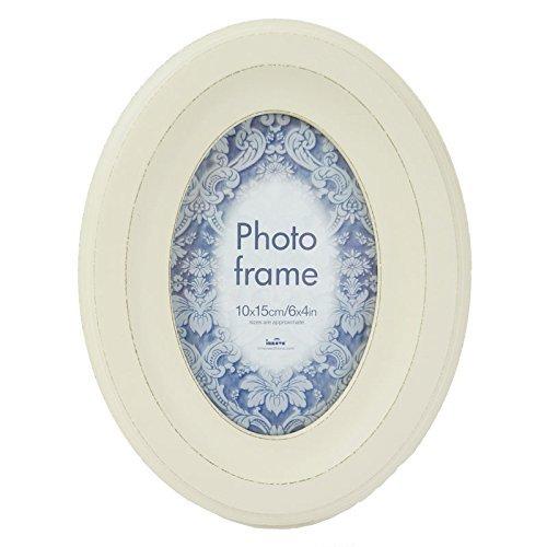 Vintage Ovaler Bilderrahmen, MDF, Weiß, 22 x 17 x 3 cm ()
