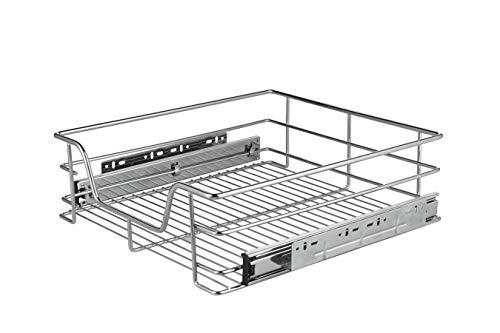 Lifa living® cassetto telescopico in filo di acciaio cromato | cestello estraibile per cucina, armadi e dispense | 2 misure disponibili | (57 cm)