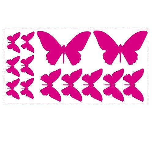 Wandtattoo Schmetterlinge 13 Aufkleber im Set Farbe pink