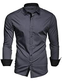 Kayhan Twoface Herren-Hemd Slim-Fit Langarm-Hemden Streifen S-6XL