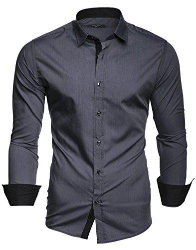Kayhan Herren Übergröße Hemd, TwoFace Grau 5XL