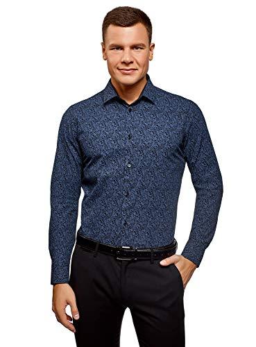 oodji Ultra Herren Tailliertes Hemd mit Paisley-Druck, Blau, Herstellergröße 43 (Kragenweite 43 cm)/ DE 43 / L -