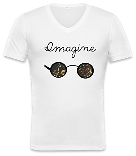 John Lennon Imagine Sunglasses Unisex V-neck T-shirt Medium