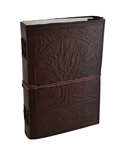 Urbankiertes großes geprägtes Leder Baum des Lebens 184 Blatt Tagebuch Journal mit Verschluss (Geprägte Blätter)