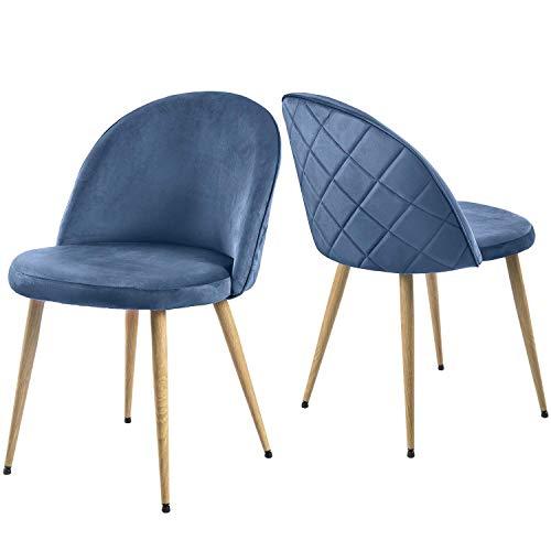 ModernLuxe Esszimmerstuhl Wohnzimmerstuhl SAMT Stoff Polsterstuhl Loungesessel Weicher Sitz und Rücken, mit Holzernen Metallbeinen, 2er Set Küchenstühle (Keinblau)