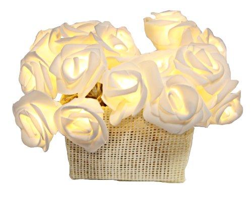 Best Season 726-29 - Cadena de luces LED (15 LEDs, 2,1 m de longitud, con pilas, con temporizador), diseño de rosa en cesto, color blanco