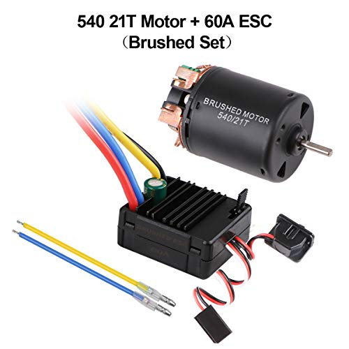 Hootracker 540 21T 4 Poles Brushed Motor and 60A Brushed ESC Combo with 6V/3A BEC Waterproof 540 Motor ESC Combo for 1/10 RC Racing Car -