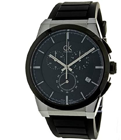 CK Sport Chronograph Stainless Steel Case Rubber Bracelet Black Tone Dial Date Display