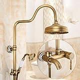 Hlluya Wasserhahn für Waschbecken Küche Antike Armaturen voll Kupfer antik Wand- Lift Dusche mit heißem und kaltem Wasser Regen Sprinkler Badezimmer mit Dusche G10