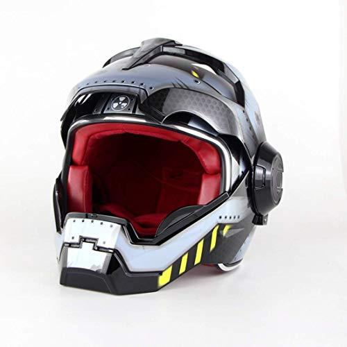 AMITAS Motorrad-Helm, Klapphelm Integralhelm Iron Man Motorrad Helme Männer Harley Motorradhelm 57CM-58CM (M)