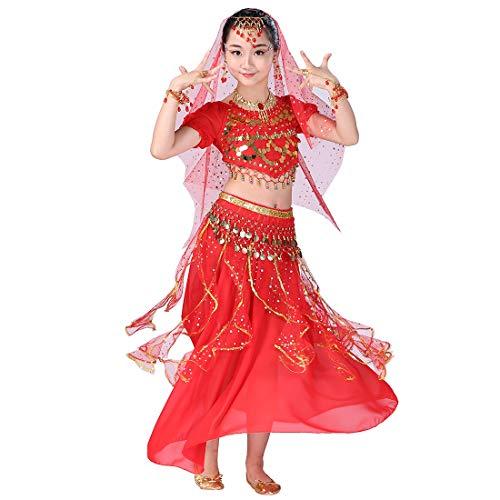 Magogo Mädchen Bauchtanz Kostüm Karneval Party Kostüm, Kinder Cosplay Arabische Prinzessin Outfit Shiny Dancewear (L, Rot) (Rote Kostüm Arabische Prinzessin)