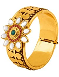 Voylla Floral Cuff Bracelet With Gold Plating