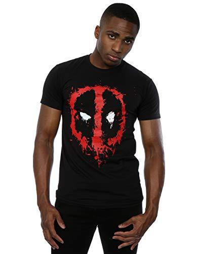 5cfa0977e5838e Marvel pour Homme Deadpool Splat Visage T-Shirt - Noir - Large