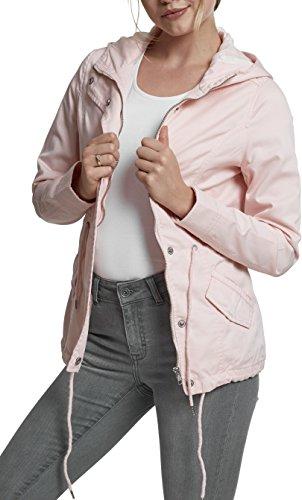 0 Damen und Mädchen Basic Cotton Parka, Jacke aus Baumwolle für Herbst und Winter mit Kapuze, Taille verstellbar, Tunnelzug-Saum - rose, Größe M ()