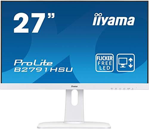 iiyama Prolite B2791HSU-W1,68.6 cm (27 Zoll) IPS LED-Monitor 16:9 (VGA, HDMI, DisplayPort, USB2.0, Ultra-Slim-Line, Höhenverstellung, Pivot) Weiß