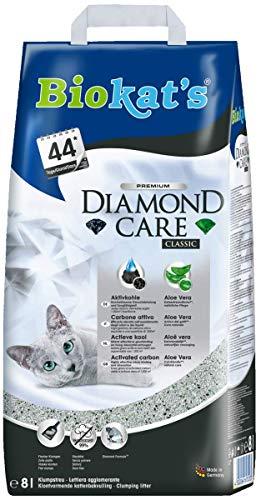 Biokat\'s Diamond Care Classic Katzenstreu, Hochwertige Klumpstreu für Katzen mit Aktivkohle und Aloe Vera, 1 Papierbeutel (1 x 8 L)