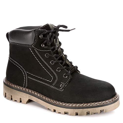 AM Shoes Mens Warm Lined Leather Lace Up Boot Shoes