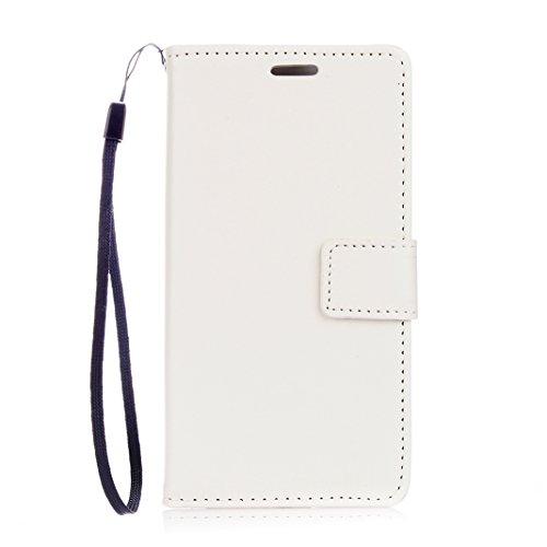 Huawei P8 Lite Cover Case HuaForCity® Portafogli Custodia in Pelle PU Copertina con Slot per schede Magnetica Flip Chiusura Stile del Libro Supporto Funzione Bumper Caso for iphone Huawei P8 Lite White