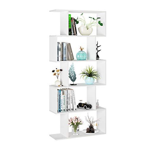 Homfa Bücherregal Regal mit 5 Ebenen, Raumteiler Standregal Büroregal 70x23.5x159.5cm, weiß