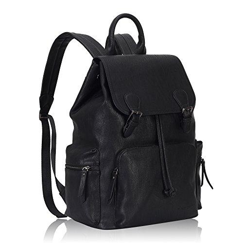 Imagen de veevan moda pu  de cuero  de viaje bolsas de la escuela para hombres de las mujeres se adapta a portátil de 15,6 pulgadas negro alternativa