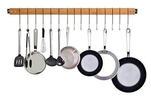 JackCubeDesign dekorative Bambus Küche Wandhalterung Topf Pfanne Rack / Aufhänger / Speicherorganisator mit 15 Haken -: MK420A Topf Küche
