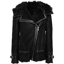 Belstaff Mujeres chaqueta de piel de cordero de marzo ante Negro