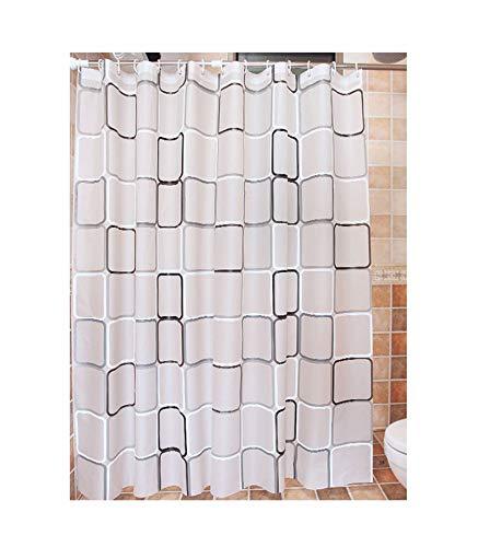 Gnzoe tenda da doccia, tenda da bagno in poliestere, motivo reticolo bianco - 80_x_180_cm