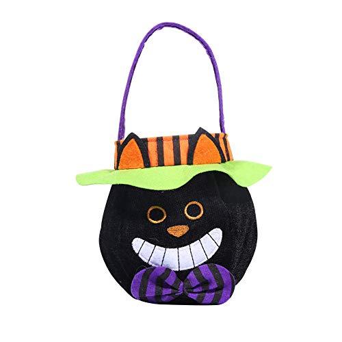 song rong Kürbis Candy Bag Trick or Treat Taschen kreative Karikatur-Schwarze Katze formte Entwurf Handtaschen mit Cap-Runde Tragetaschen Kinder-Süßigkeit-Geschenk-Beutel 1pc Halloween Filz Beuter