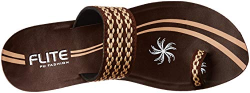 FLITE Women's Brown Beige Flip-Flops-6 UK/India (39.33 EU) (PUL038L)