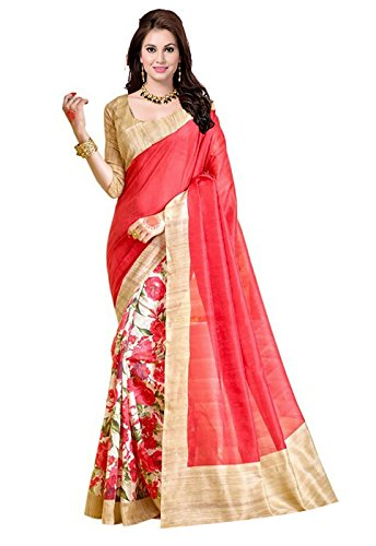 Ishin Bhagalpuri Silk Beige & Pink Printed Party Wear Wedding Wear Casual Wear Festive Wear Bollywood New Collection Latest Design Trendy Women's Saree/Sari  available at amazon for Rs.299