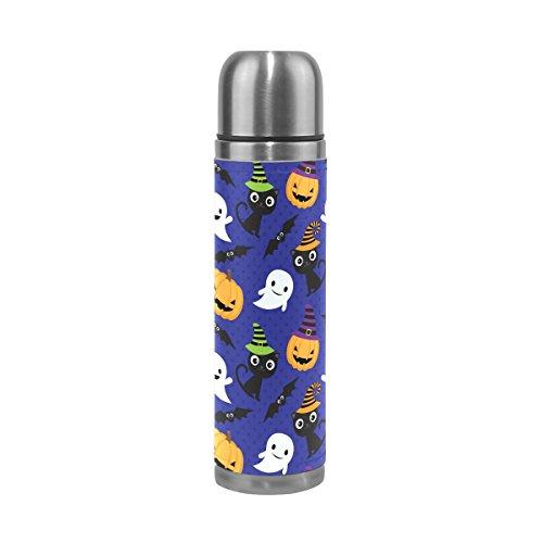 Alaza Halloween Hexe Thermos-Flasche Vakuum insulatied Edelstahl, doppelwandige Tasse auslaufsicher Reise Kaffee Tasse Echt Leder Hülle 17Oz