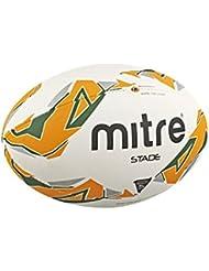 Mitre Stade - Pelota de rugby, color blanco, talla 5