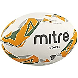 Mitre Stade Match Ballon de Rugby Mixte Adulte, White/Green/Orange, Size 4