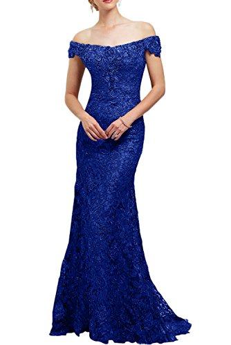 Gorgeous Bride Modern TrägerLang Brautmutterkleider Meerjungfrau Satin Spitze Schleppe Abendkleider Lang Festkleider Ballkleider Royalblau