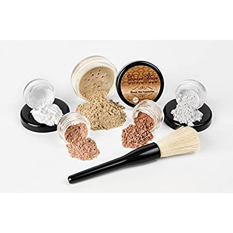 6 pc. STARTER KIT Mineral Makeup Set Bare Skin Matte Foundation Cover (Fair Shade 2) by Sweet Face Minerals