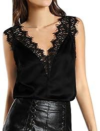 LILICAT Bekleidung Lilicat Frauen Shirt Ärmellos Spitze Chic Crop Top Damen  Casual Weste Hemd Mode Bluse Beiläufig Cami Tank Top… 663e9bf2ca